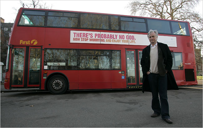 Richard Dawkins associated with a so-called atheist bus campaign